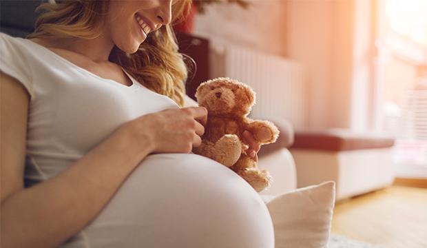 Těhotná žena hladká své bříško, ve kterém má dítě. V levé ruce drží plyšového medvídka.